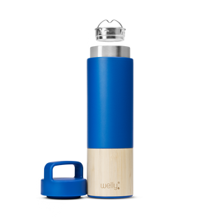 welly-bottle Insulated Infusing Bamboo Water Bottle for Hiking Travel Fitness meet_tumbler=Blue Traveler 18 oz