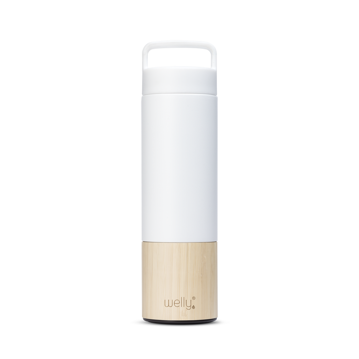 meet_tumbler=White Adventure Bundle tall white water bottle with bamboo base and loop cap