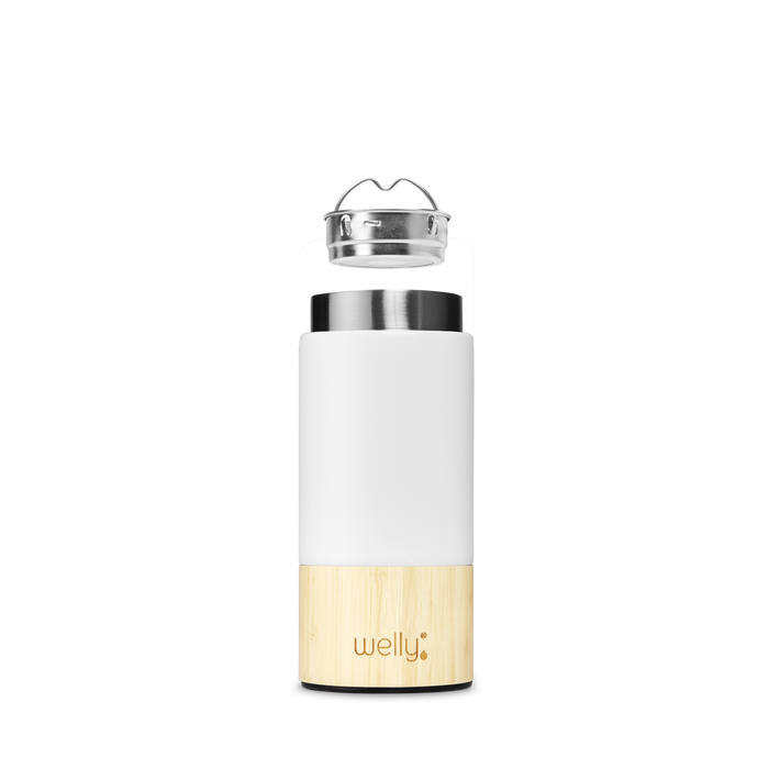 welly-bottle Insulated Infusing Bamboo Water Bottle Coffee Tea Mug meet_tumbler=White Traveler 12 oz  Edit alt text