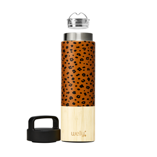 welly-bottle Insulated Infusing Bamboo Water Bottle for Hiking Travel Fitness meet_tumbler=Leopard Traveler 18 oz