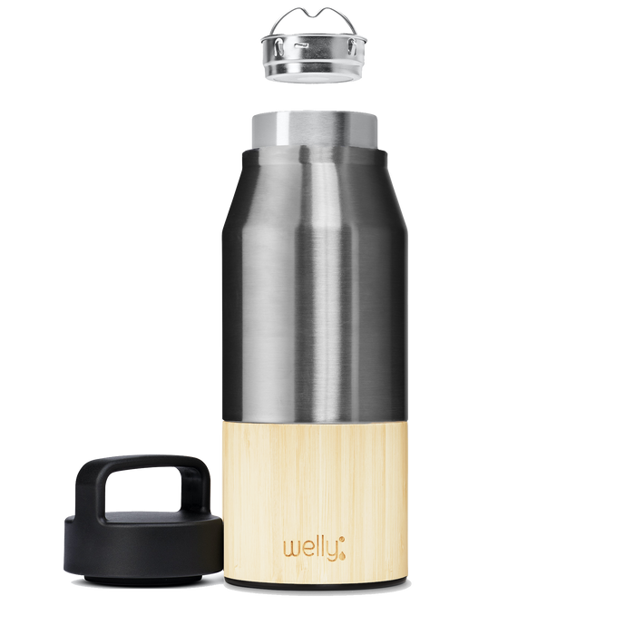 Open Stainless Traveler 28 oz | Tall stainless steel water bottle with bamboo base and loop cap