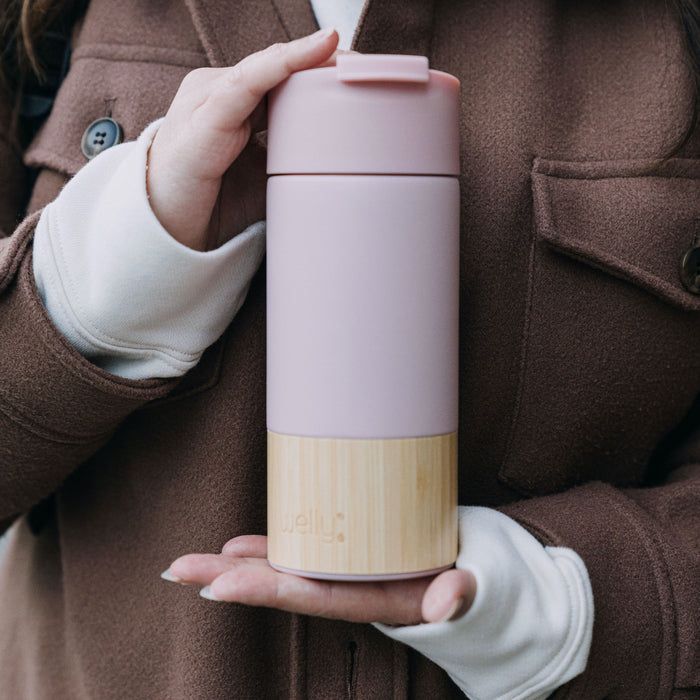 welly-bottle Insulated Infusing Bamboo Coffee Mug for Chilly San Francisco Walks Rose Traveler 12 oz