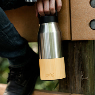 welly-bottle Insulated Bamboo Steel Water Bottle for Hiking Travel Fitness Stainless Traveler 28oz