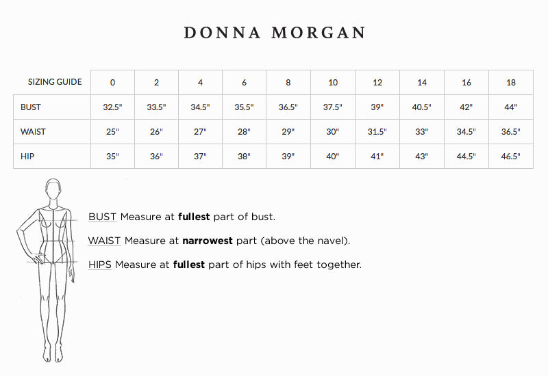 Donna morgan size guide choose the best size for your bridesmaid