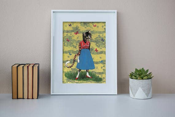 Pergamo Paper Goods - Butterfly Cat 8X10 Art Print
