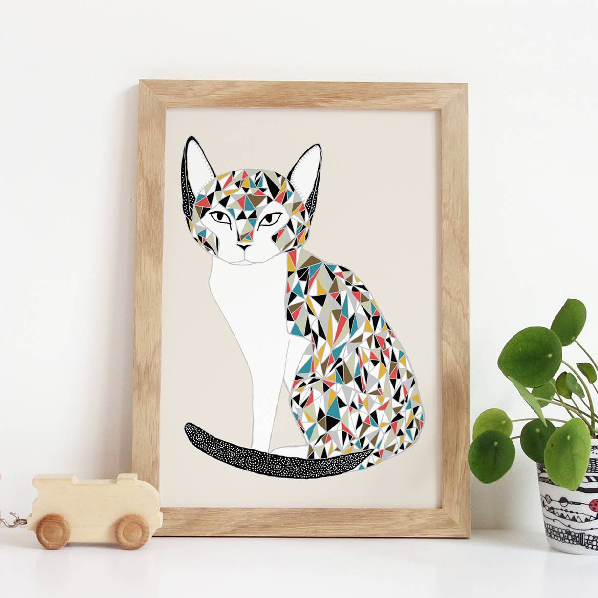 cat art 8x10 print with colorful details.