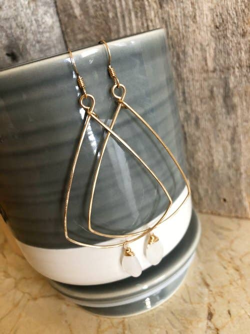 Quinn Sharp Jewelry Designs - Triangle Hoops With Moonstone