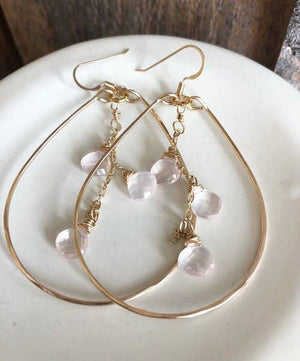 Gold Teardrop With Rose Quartz Triplet