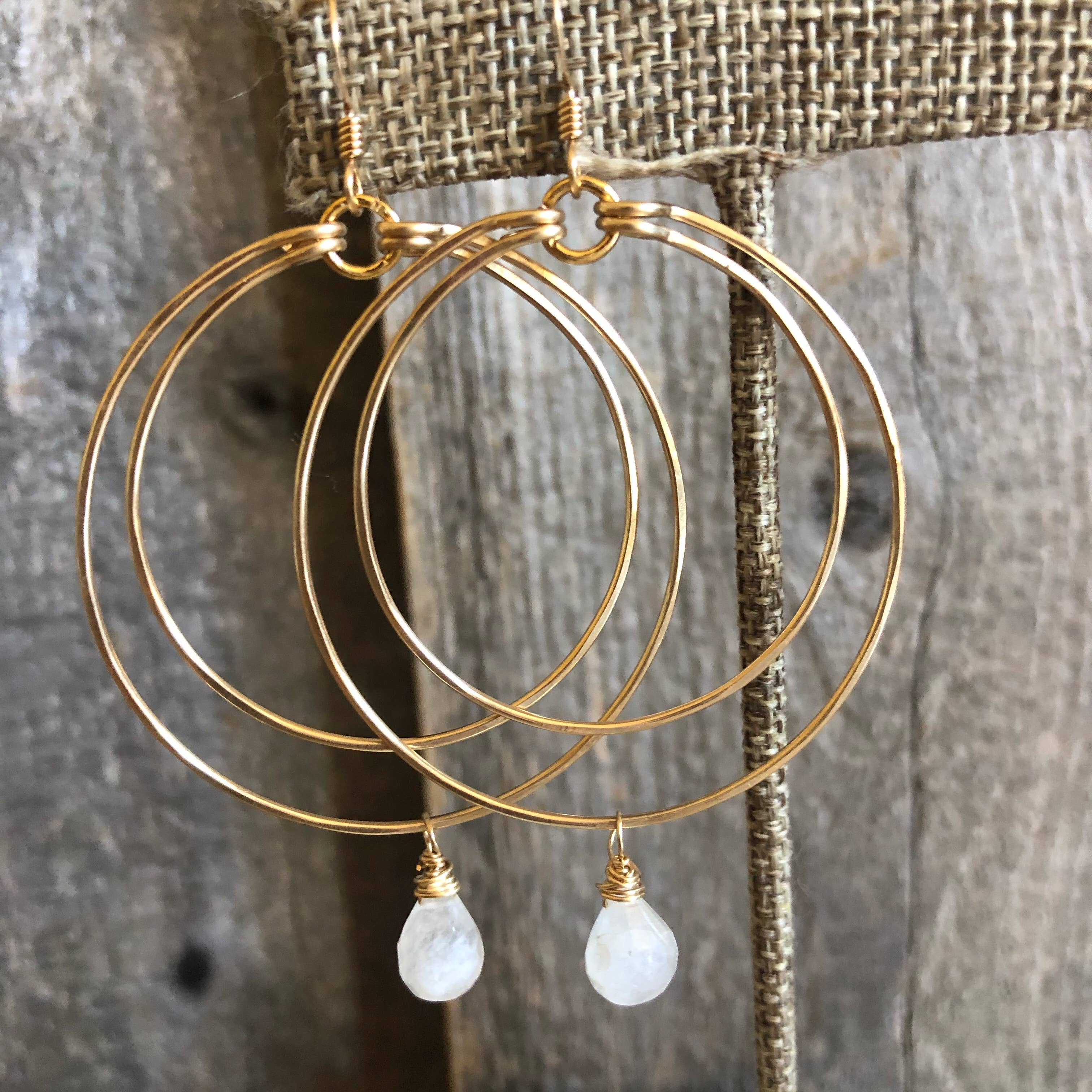 Double Circle Hoops with Moonstone Drop