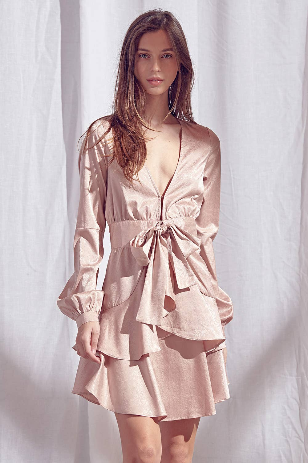 Pink Champagne Super Nova | ruffle mini dress