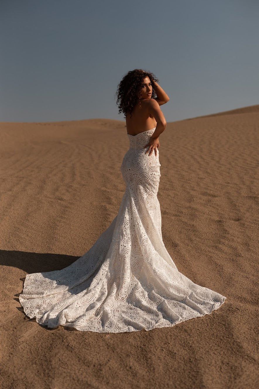 Luca | boho eyelet lace strapless wedding gown