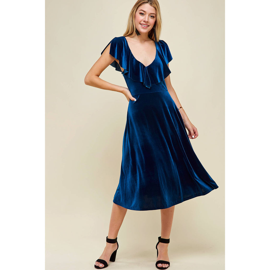 Blue Velvet if You Please | Flutter Sleeve Knee Length Velvet Dress