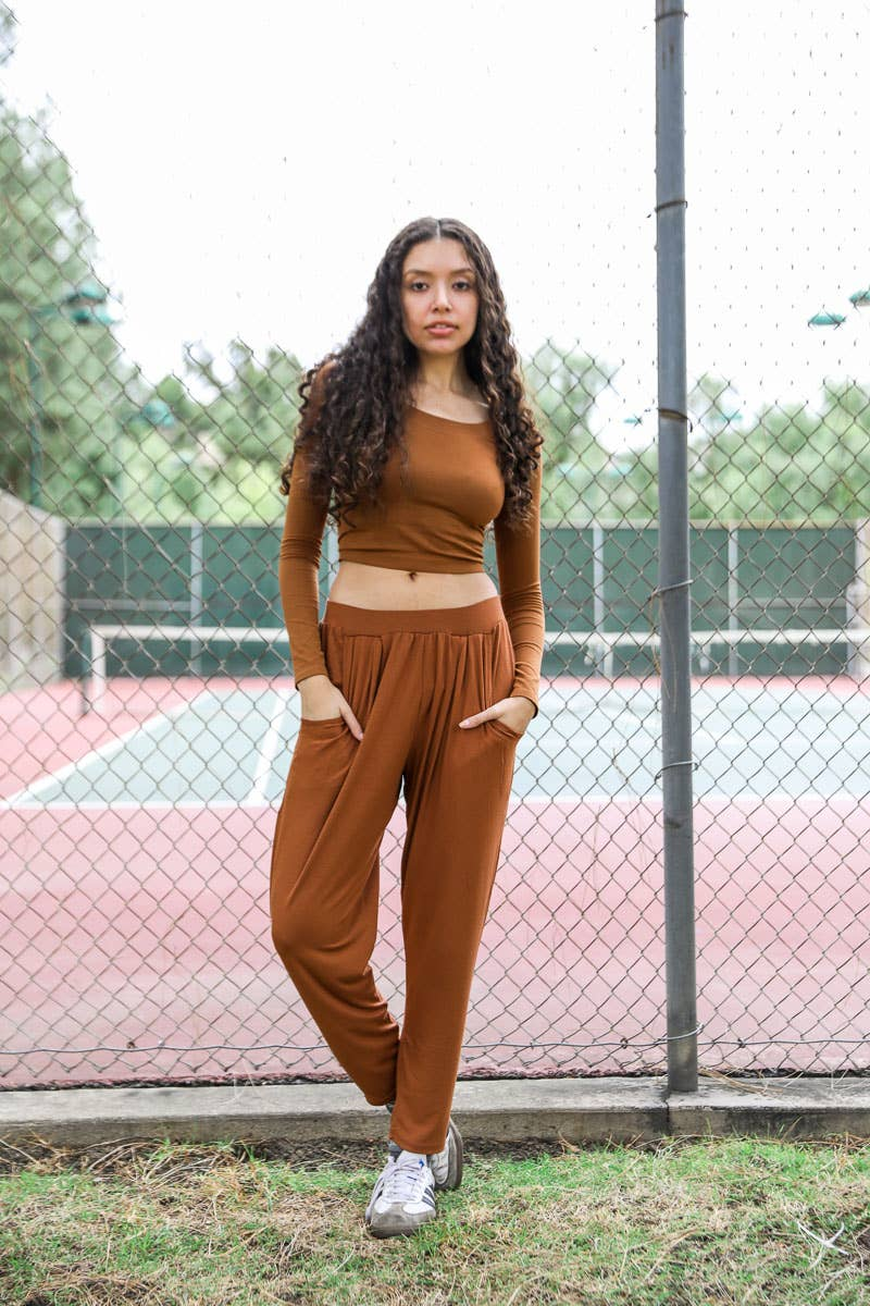 Tye Lounge Pants | Rust color slouchy lounge pants