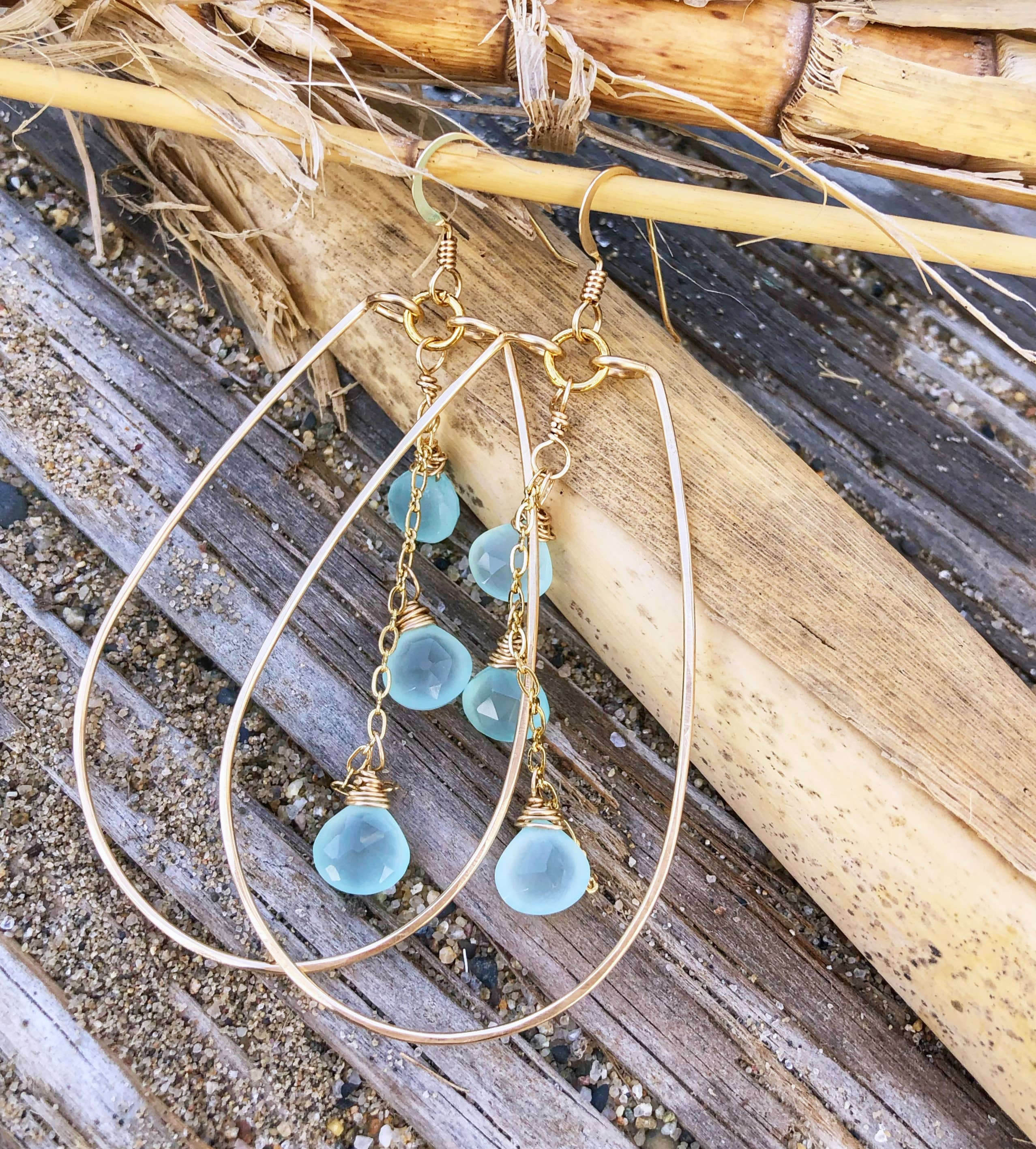 Quinn Sharp Jewelry Designs - Teardrop Hoops with Aqua Chalcedony Triplet