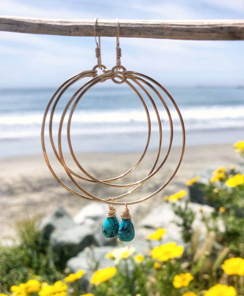 Quinn Sharp Jewelry Designs - Double Circle Hoop with Turquoise Drop