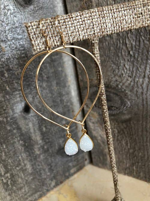 Quinn Sharp Jewelry Designs - Gold Inverted Teardrop Hoops With Druzy
