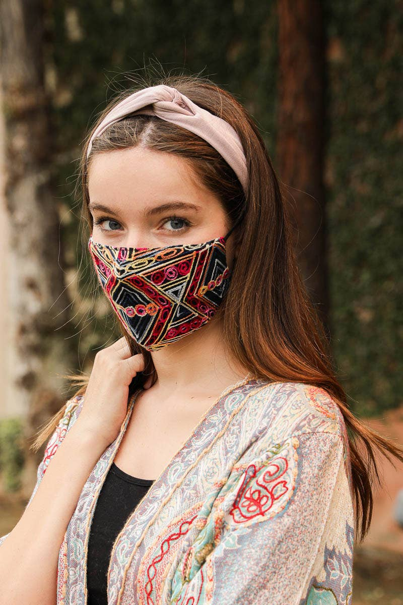 Leto Accessories - Geometric Embroidered Face Mask