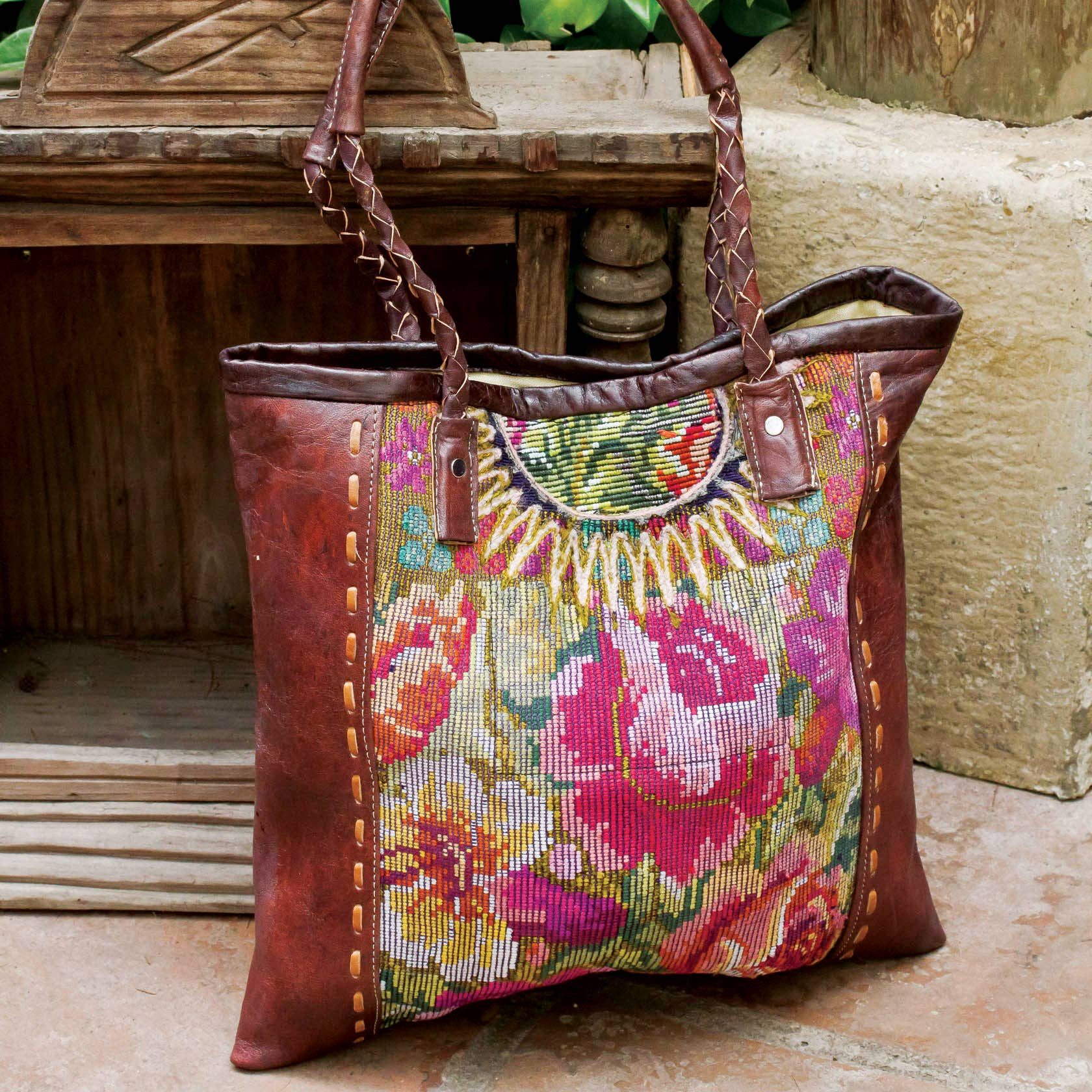 Altiplano - Huipile and Leather Tote