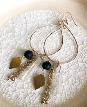 Quinn Sharp Jewelry Designs - Lava and Crystal Hoops