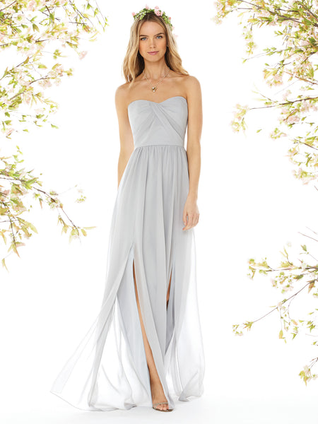 Social Bridesmaid by Dessy 8159 Floor Length Slit Dress - Off White Bride