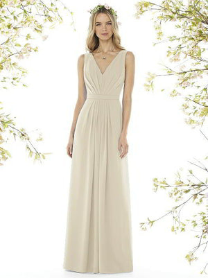 Social Bridesmaid by Dessy 8157 Floor Length Tank Chiffon Bridesmaids Dress - Off White Bride