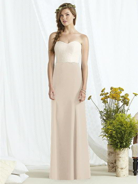 Social Bridesmaid by Dessy 8162 Floor Length Strapless Lace & Chiffon Bridesmaids Dress - Off White Bride