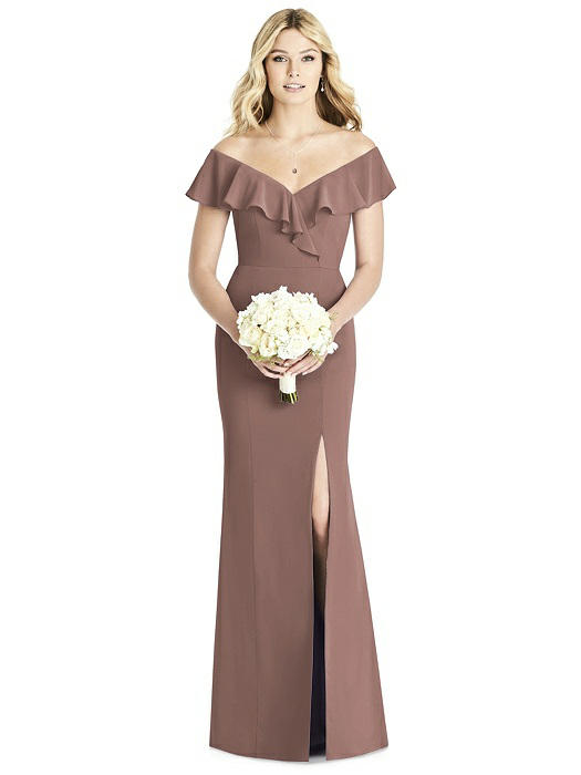 Social Bridesmaid by Dessy 8190 Floor Length Matte Chiffon Bridesmaids Dress - Off White Bride