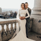 Noah | Long Sleeve Stretch Crepe Fit and Flare Wedding Dress