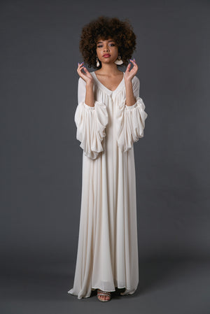 Stardust | Ivory Flowing Chiffon Bell Sleeve Boho Dress