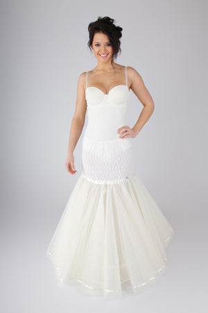 Blue Ribbon Petticoat Lace Fishtail Mermaid Slip BR24 - Off White Bride