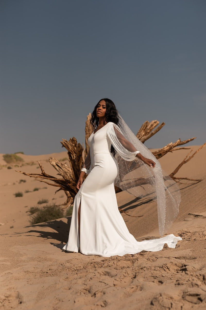 Milo | crepe fringe sleeve wedding gown
