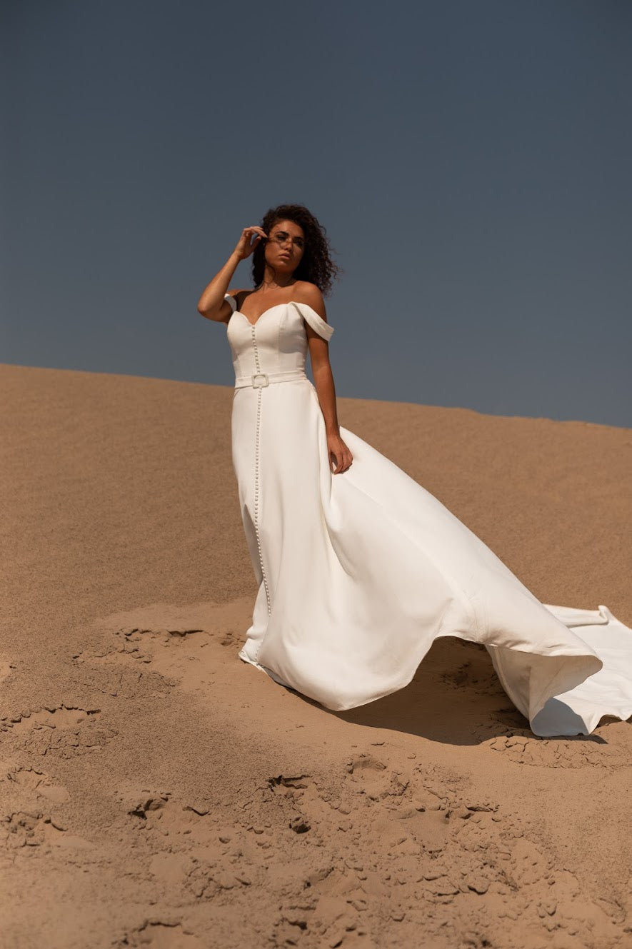 Cece | off the shoulder crepe a-line wedding dress
