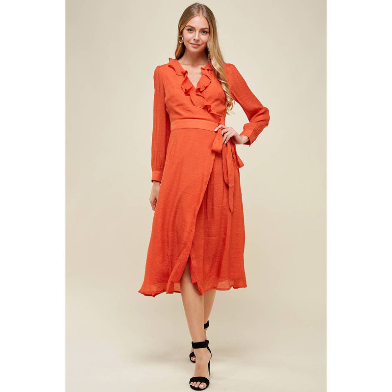 Set in SandStone | Burnt Orange Wrap Dress