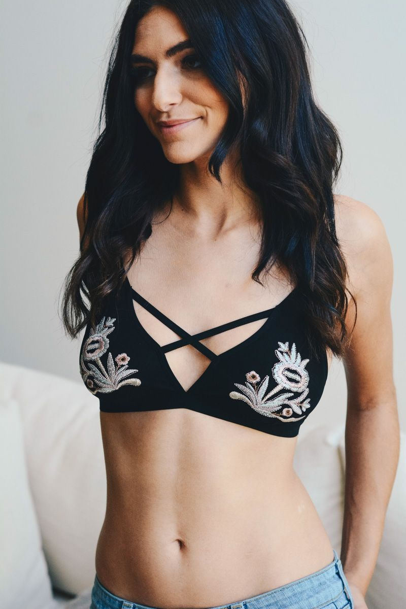 Maya | Cross front embroidered flower bra