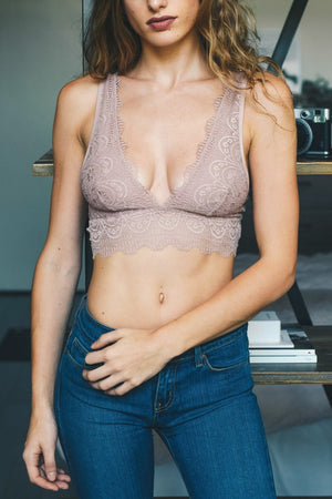 Samantha | Dusty Rose Plunge Alencon Lace Bralette