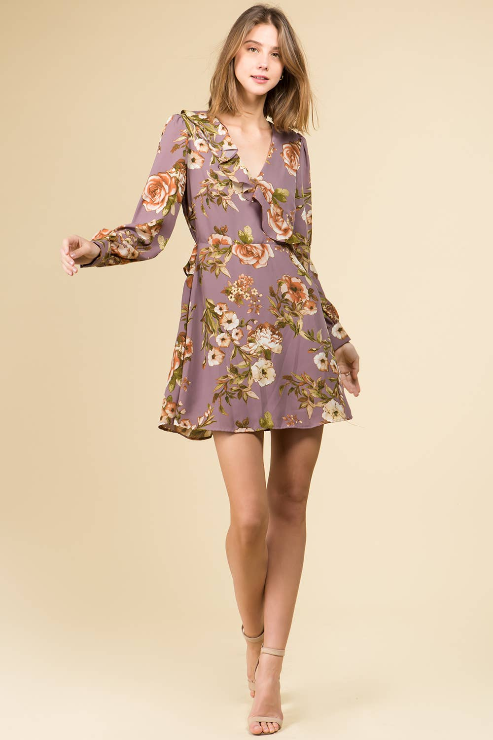 Strike a Rose | Dusty Lilac Floral Mini Dress