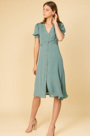 Sage You Love Me | Button Front Puff Sleeve Midi Dress