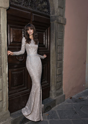 Ginger | Glamorous Sparkle Long Sleeve Fit & Flare Wedding Dress