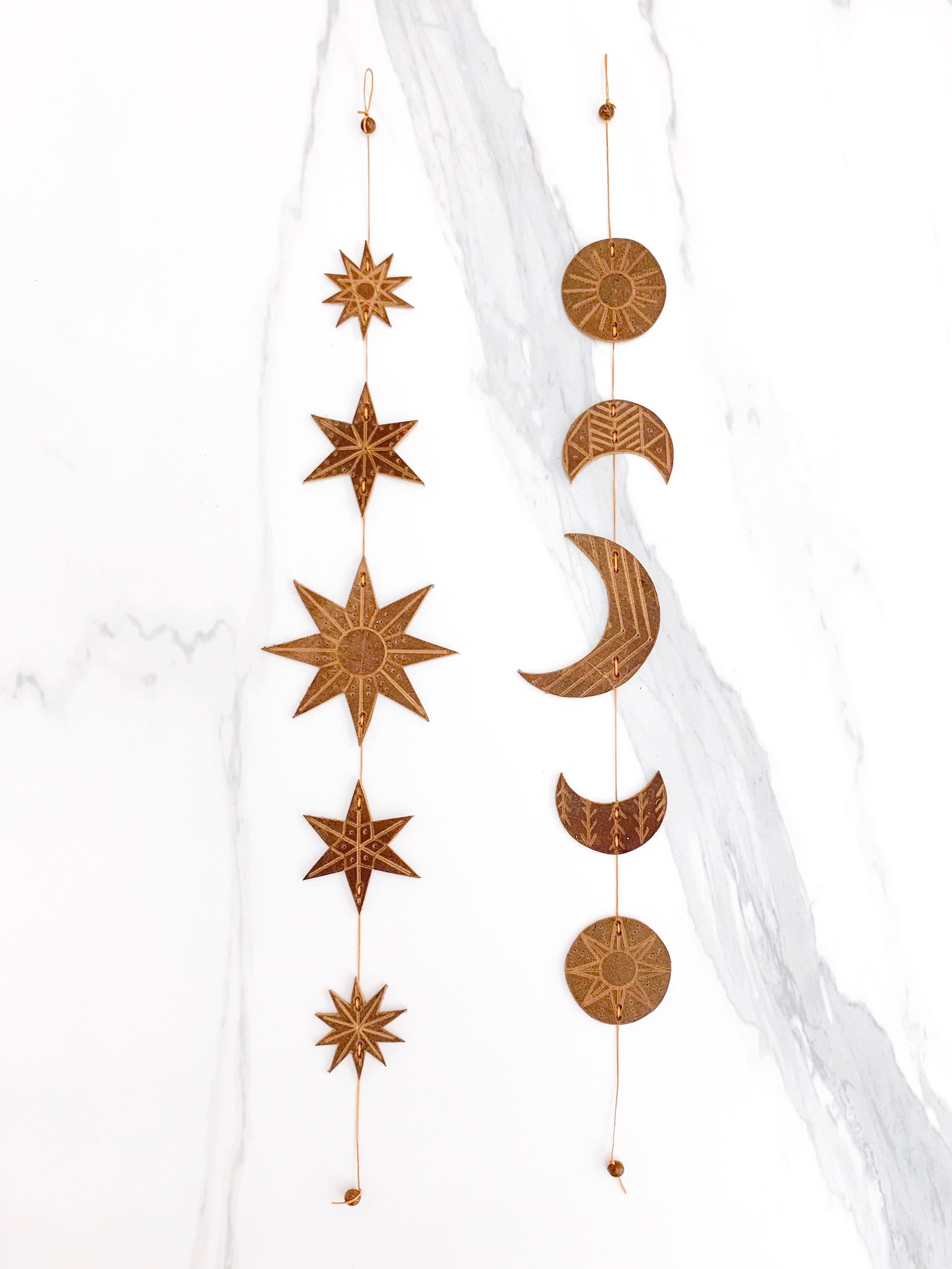 Moon + Stars wall hanging set | leather wall decor