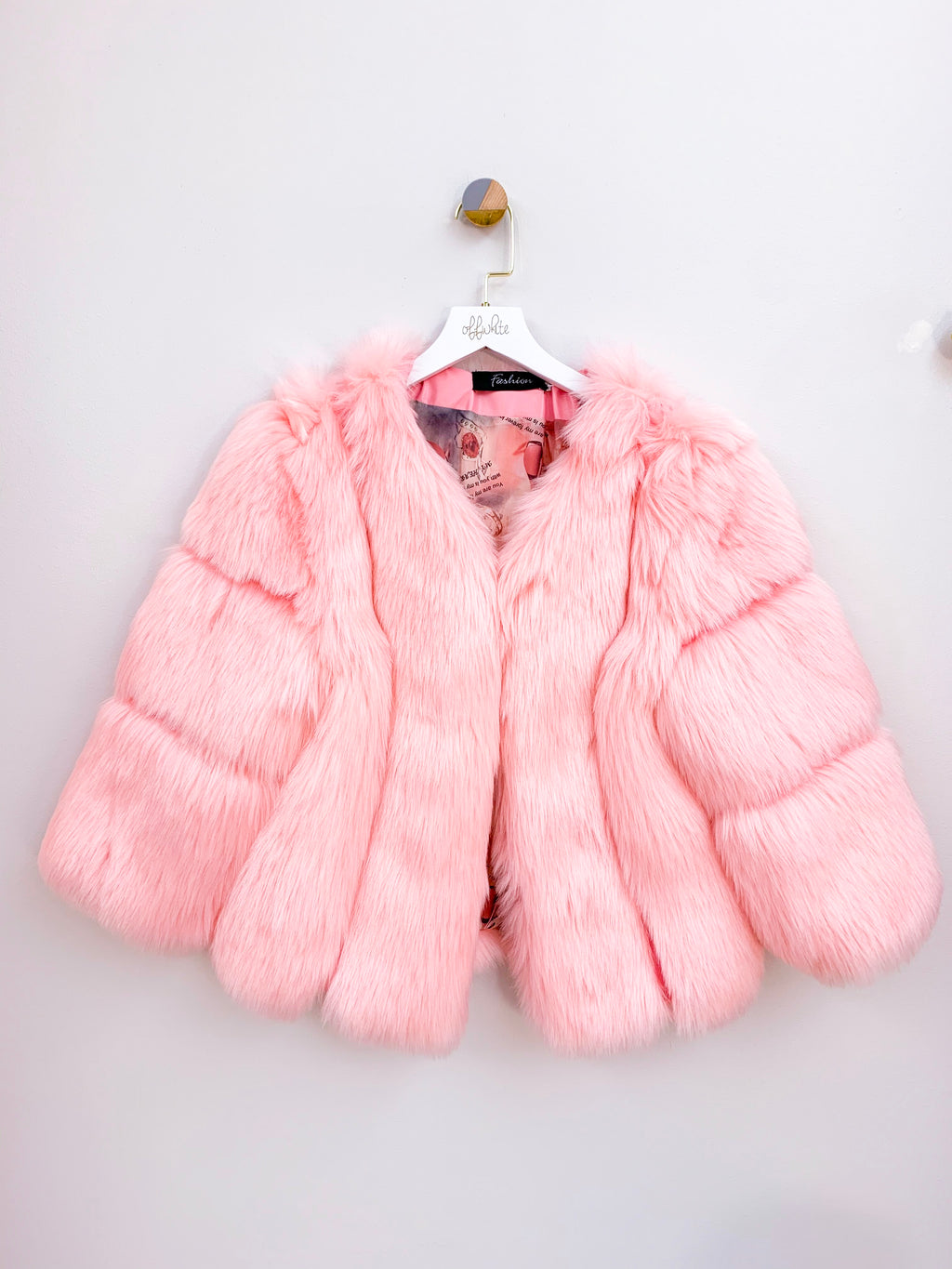 Trophy Wife | Pink Faux Fur Crop Bridal Jacket