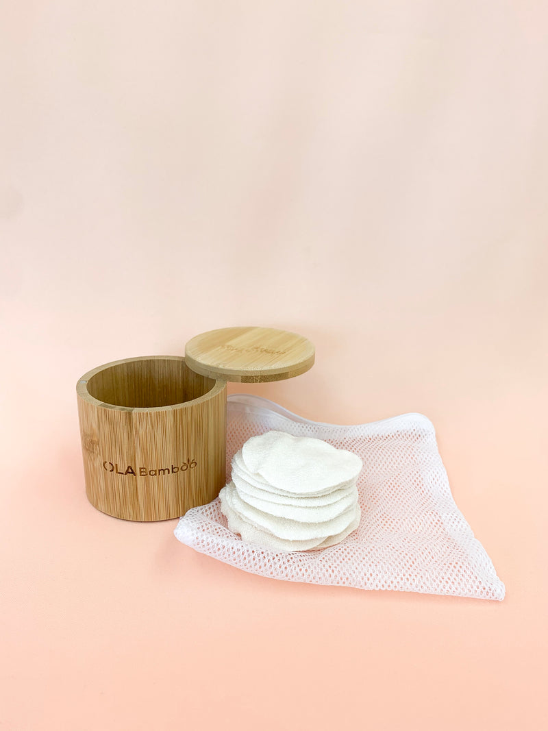 Reusable Makeup Remover Pads + Bamboo Storage Box