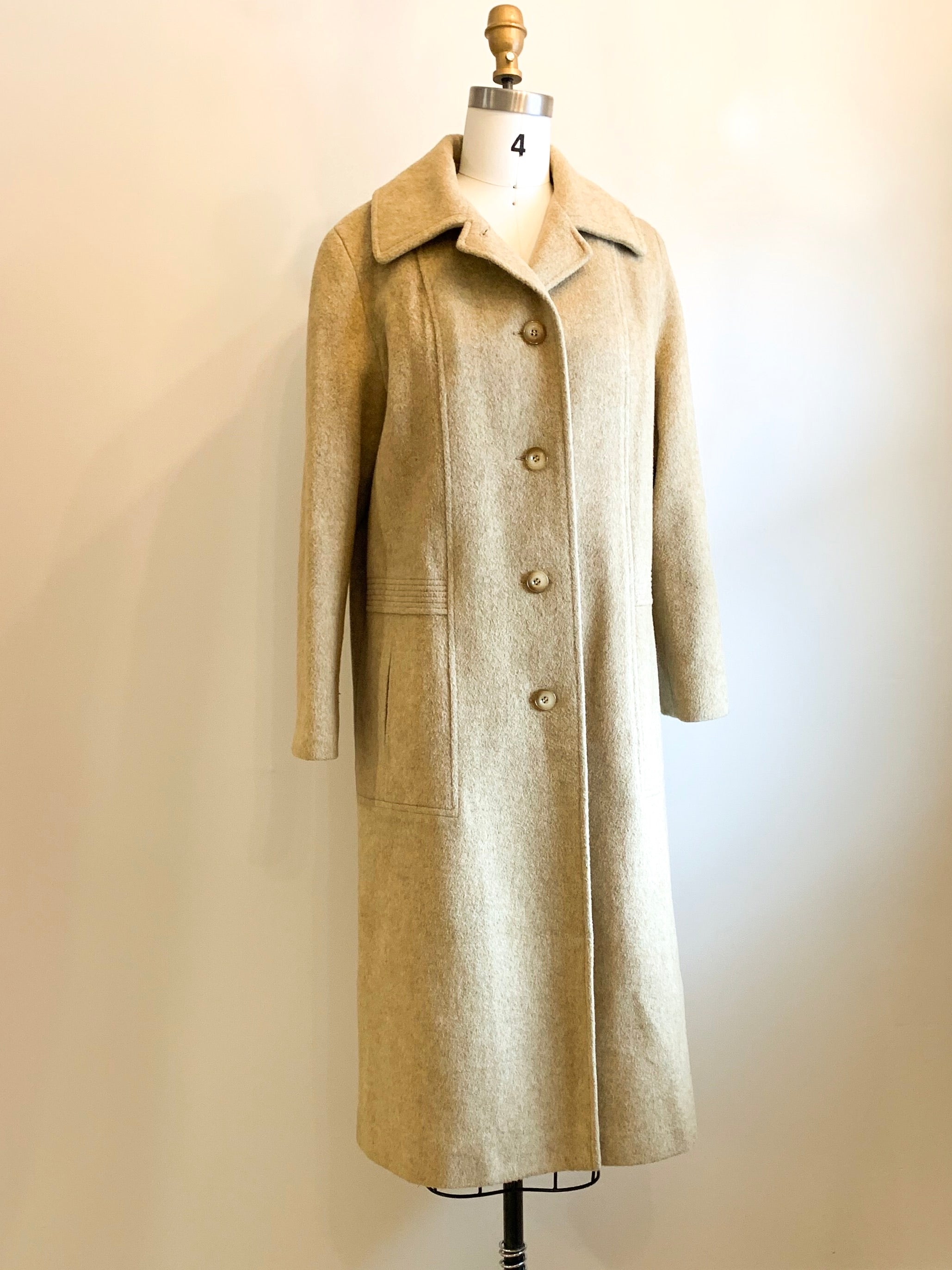 Vintage Wool Full Length Coat | camel color size large