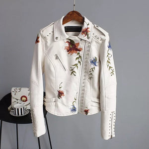 Rock & Rose | floral embroidered faux leather jacket
