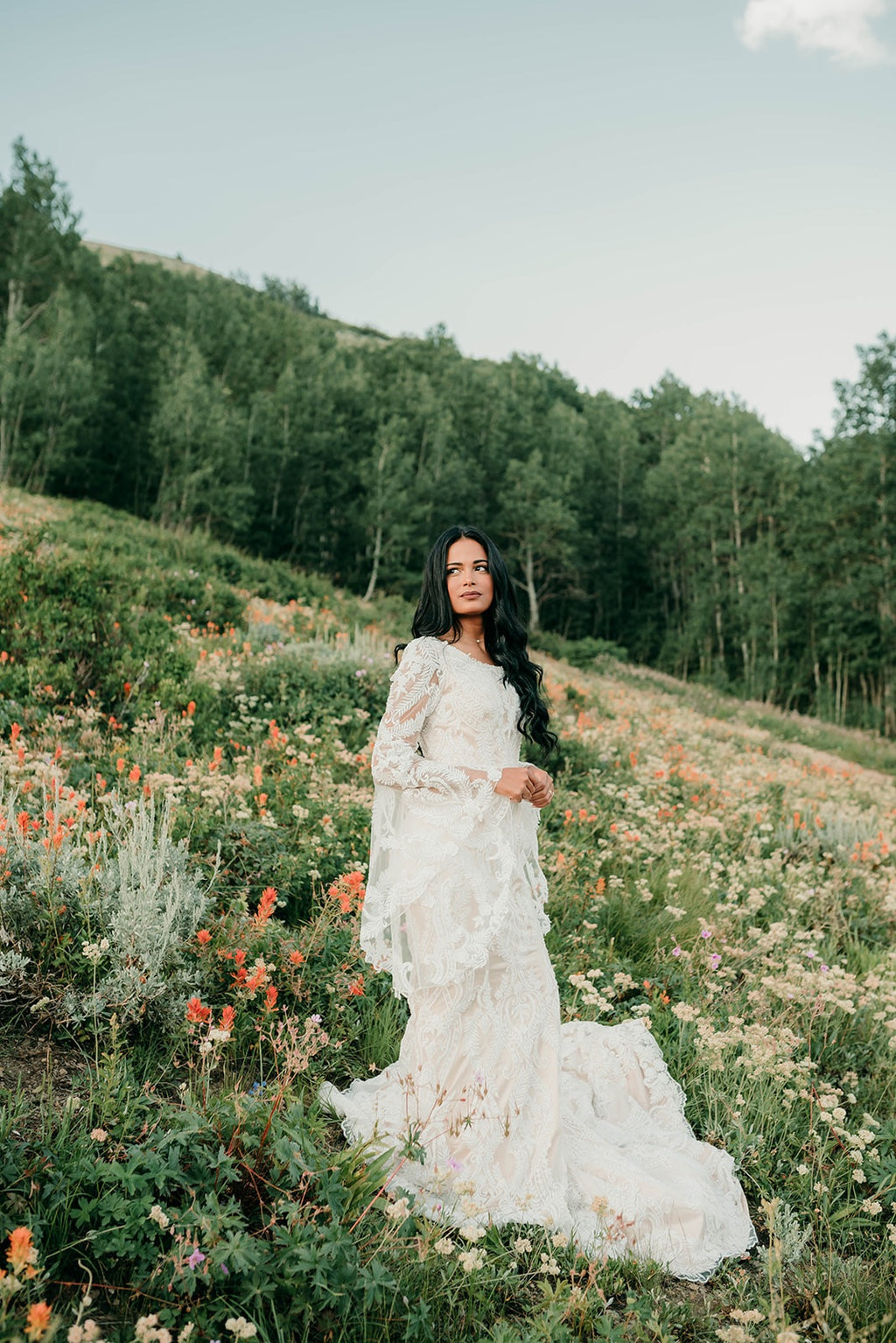 Ophelia | Modest Bell Sleeve Wedding Dress