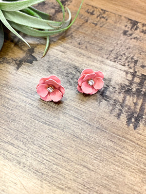 English Rose | Petite Pink Flower Earrings