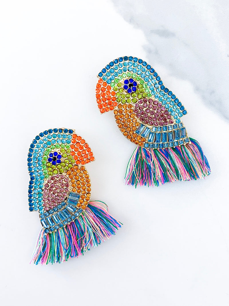 Swarovski Rainbow Parrot Tassel Earrings