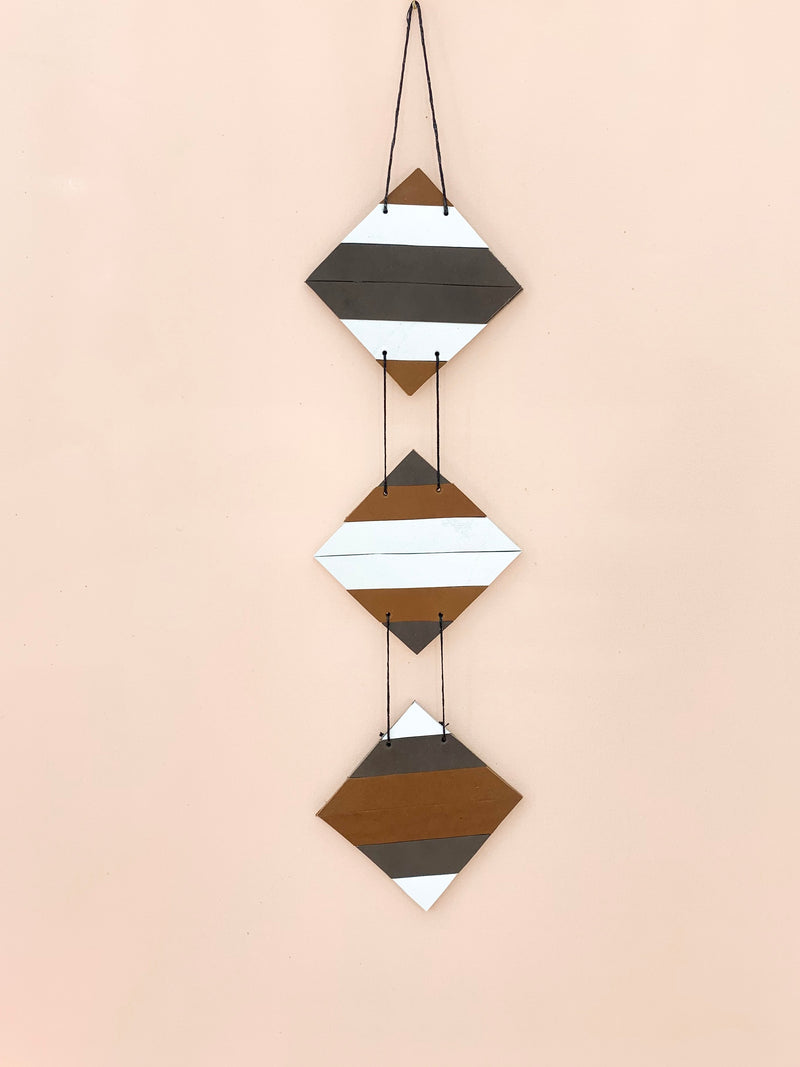 Vertical | Reclaimed Leather Geometric Wall Art