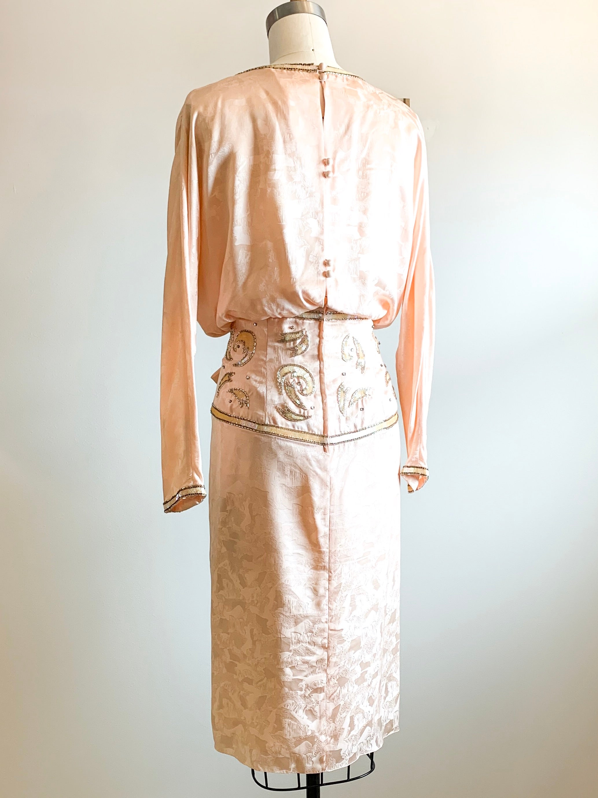 Vintage 1980s Peach Silk Party Dress