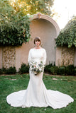 Noah- Long Sleeve Stretch Crepe Fit and Flare Wedding Dress