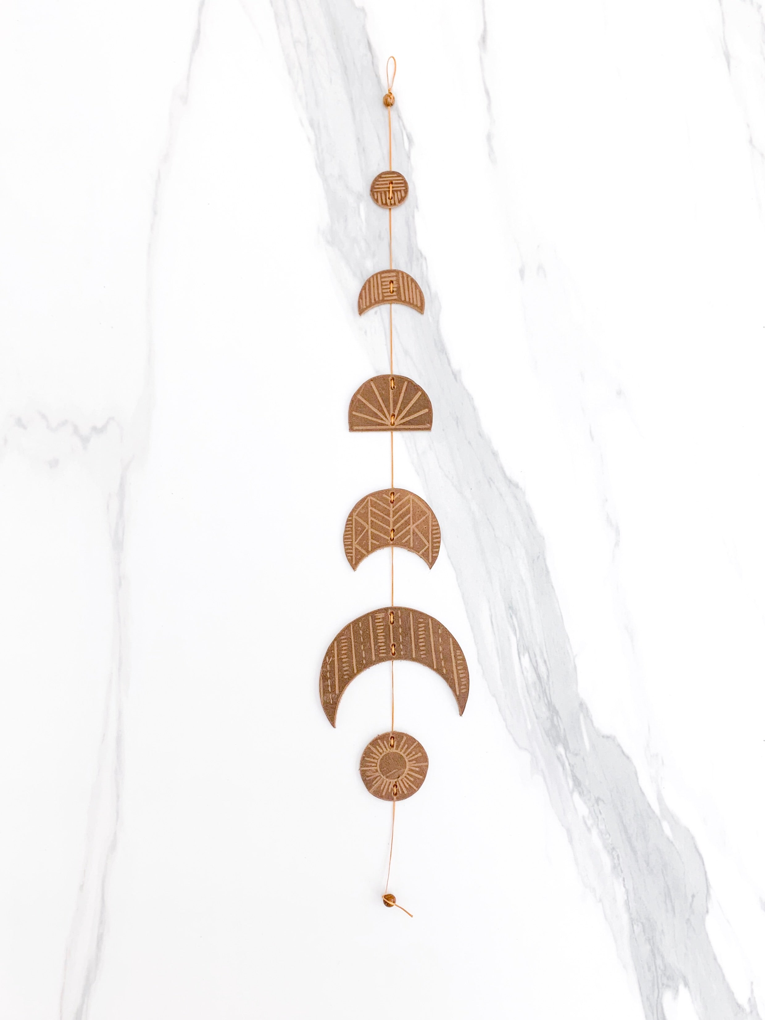 Falling Moons wall hanging | leather wall decor